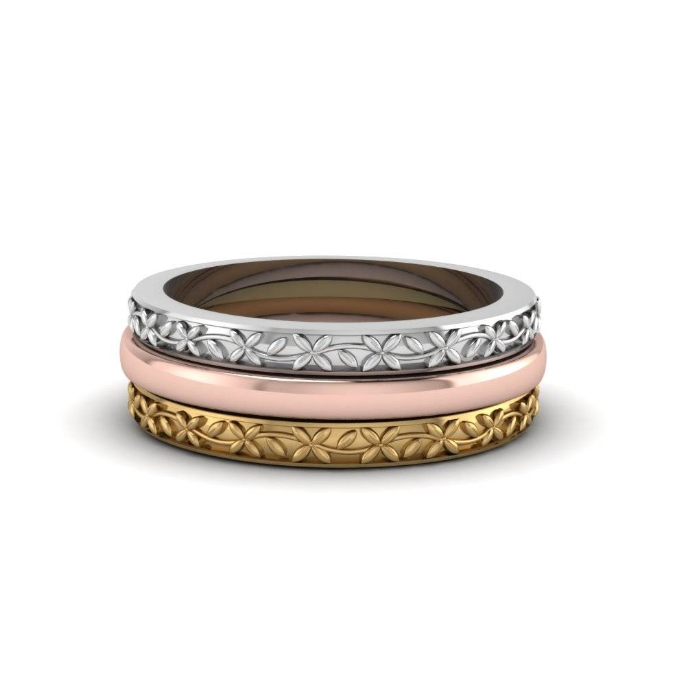 Tri Color Filigree Stackable Gold Anniversary Ring Gifts In 14K Regarding Most Current Engraved Anniversary Rings (View 23 of 25)