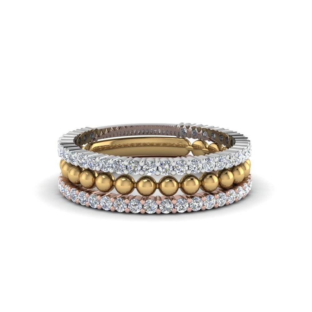 Trio Gold Stacked Diamond Ring With Bead In 14k White Gold For Best And Newest Stacking Anniversary Rings (View 8 of 25)