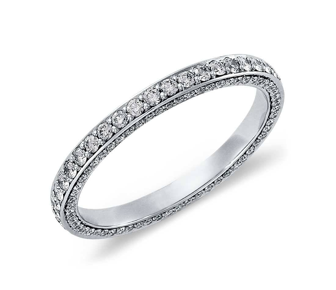 Trio Micropavé Diamond Eternity Ring – White Gold For Current Pave Anniversary Rings (Gallery 20 of 25)