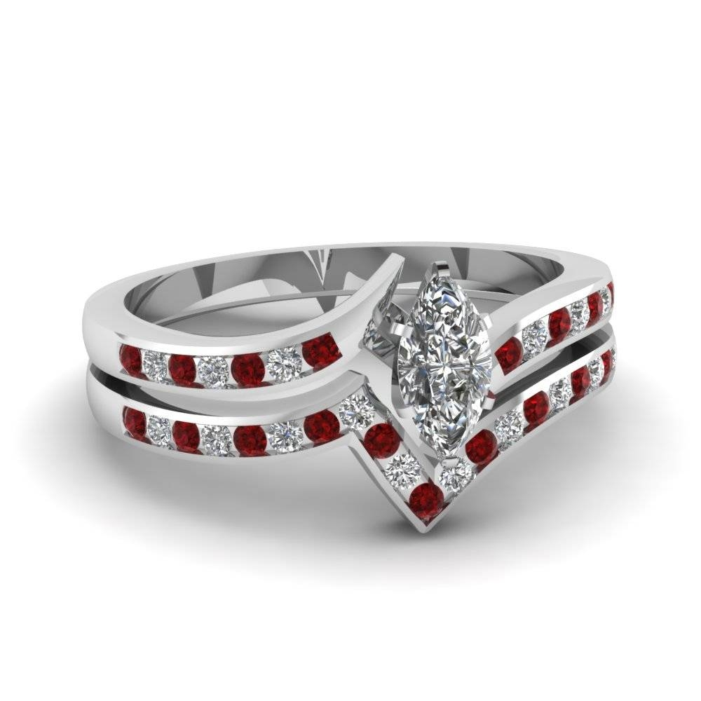 Twist Channel Marquise Diamond Wedding Set With Ruby In 950 Regarding Most Recent Ruby Anniversary Rings (View 20 of 25)