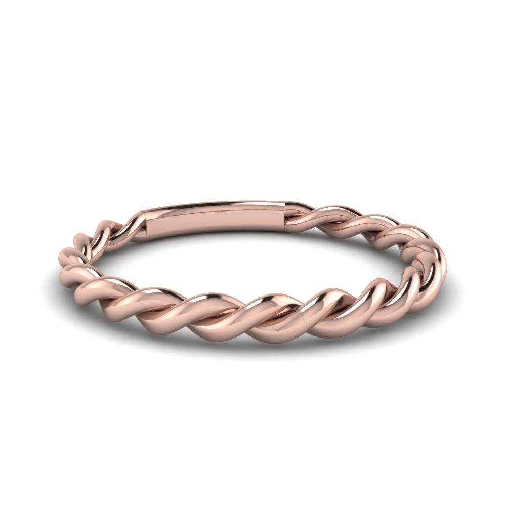 Twisted Rope Band In 14K Rose Gold | Fascinating Diamonds Inside 2017 Silver Wedding Anniversary Rings (Gallery 12 of 25)