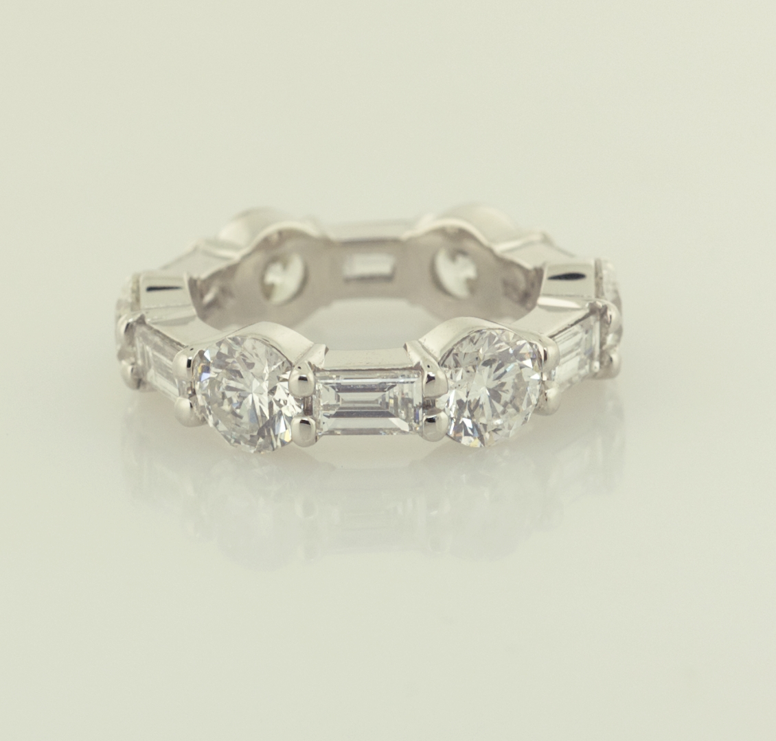 Two Baguette And Round Diamond Platinum Eternity Bands | [Node In Latest Baguette Anniversary Rings (View 24 of 25)