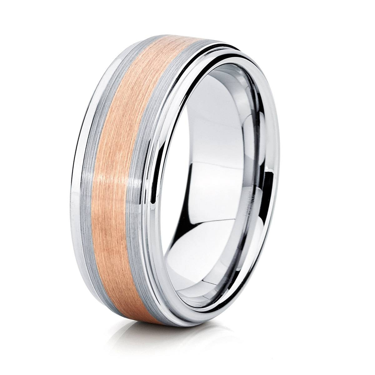 Two Tone Rose Gold Tungsten Mens Wedding Band, | Ringscollection Throughout 2017 Two Tone Anniversary Rings (View 23 of 25)