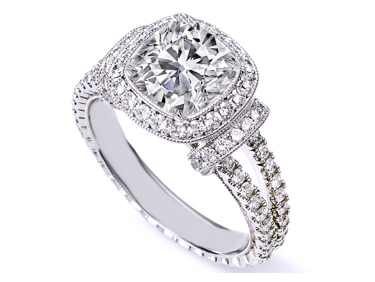 Uncategorized: Braided Cushion Cut Diamond Halo Wedding Rings With Newest Cushion Cut Anniversary Rings (Gallery 21 of 25)
