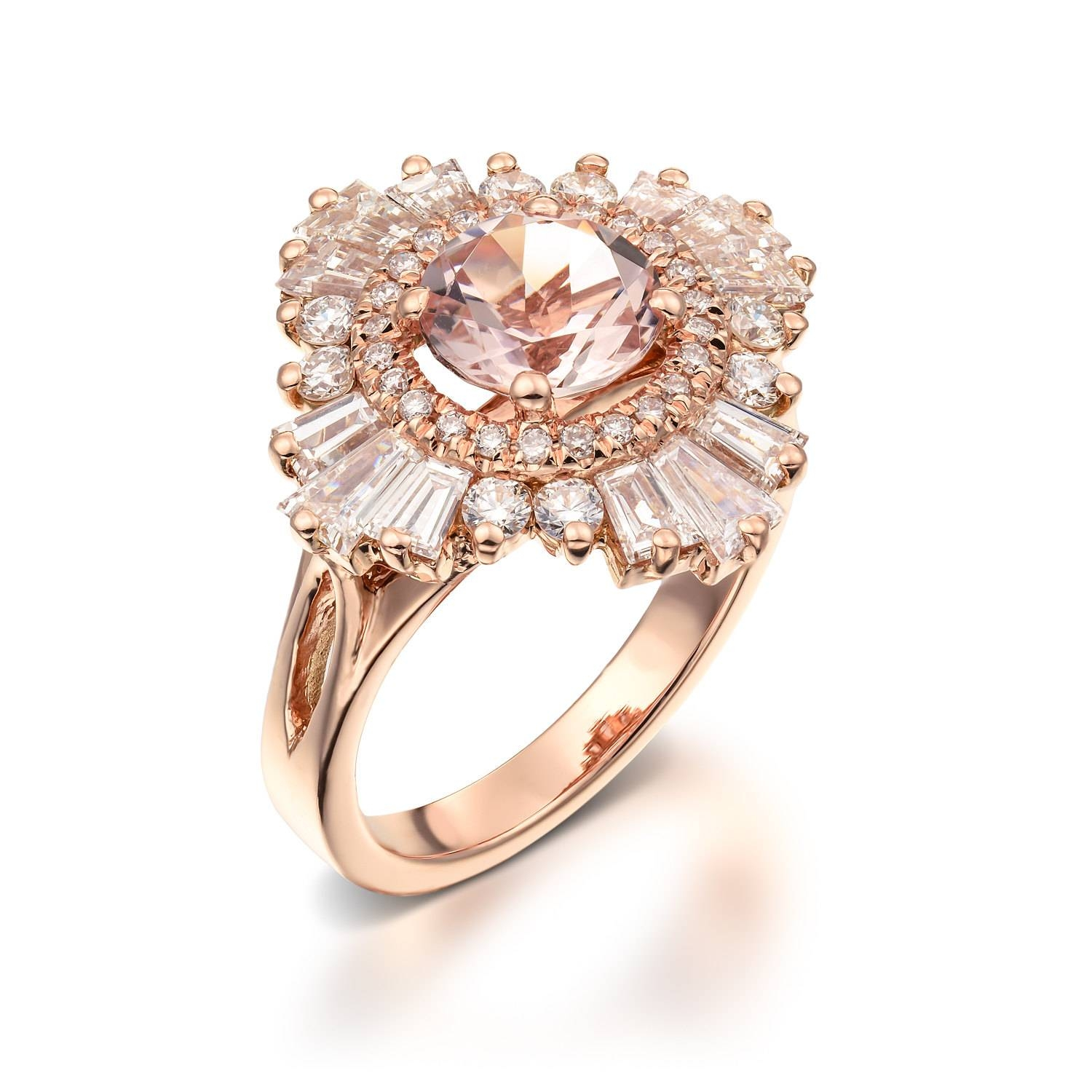 Unique Engagement Ring 18K Rose Gold Diamonds And Morganite Within Most Recently Released Anniversary Rings With Baguettes (Gallery 25 of 25)