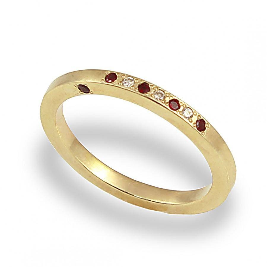 Unique Engagement Ring , Diamond And Garnet Ring , 14K Yellow Gold Intended For Newest Yellow Gold Diamond Anniversary Rings (Gallery 23 of 25)
