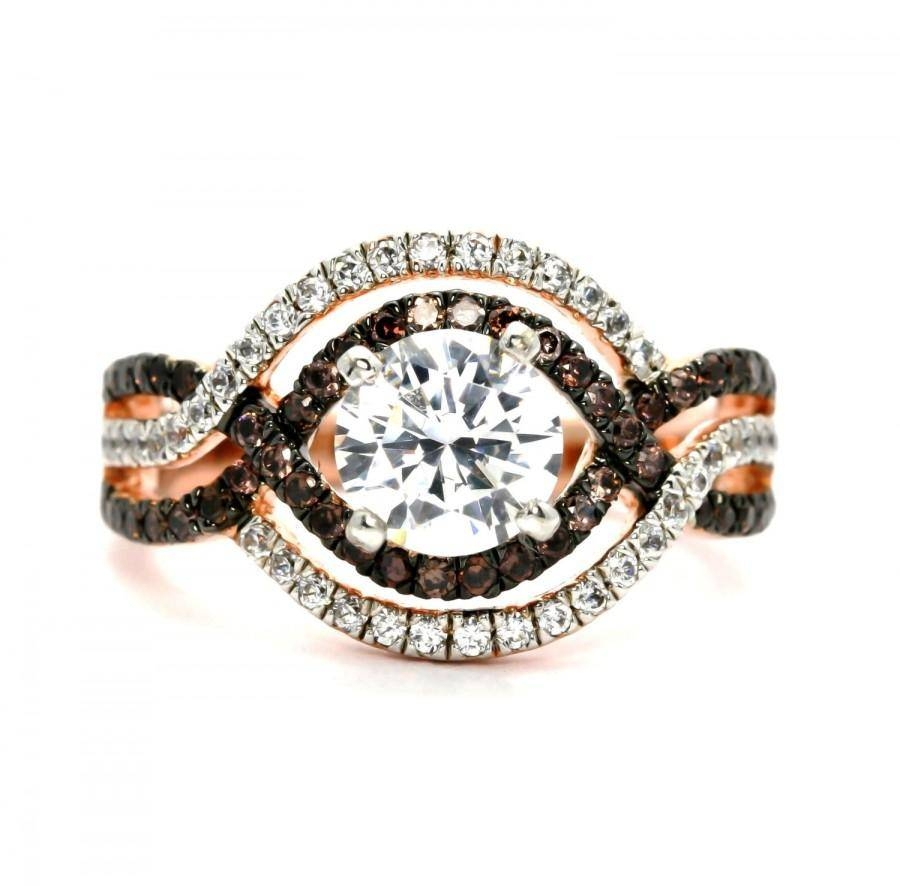 Unique Halo Infinity Rose Gold, White & Chocolate Brown Diamonds Within Best And Newest Unique Diamond Anniversary Rings (Gallery 8 of 25)