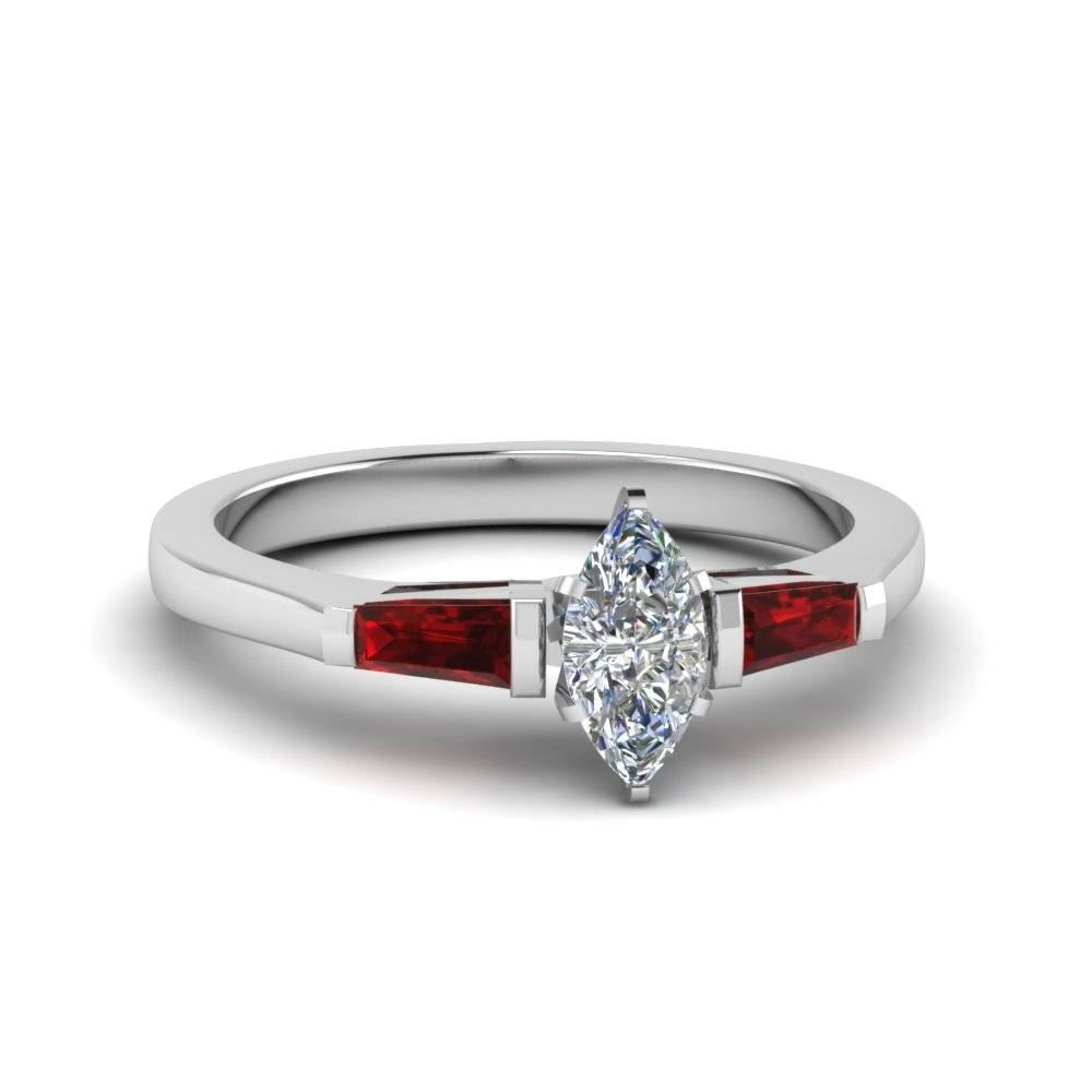 Unusual 3 Stone Marquise Engagement Rings | Fascinating Diamonds Within 2017 Baguette Diamond Anniversary Rings (View 22 of 25)