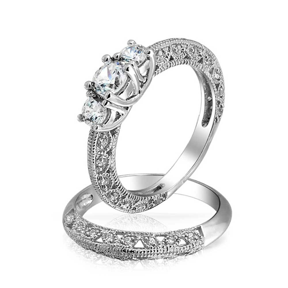 Vintage 3 Stone Round Cz Wedding Anniversary Ring Set 925 Silver For 2018 Anniversary Rings Settings Without Stones (Gallery 22 of 25)