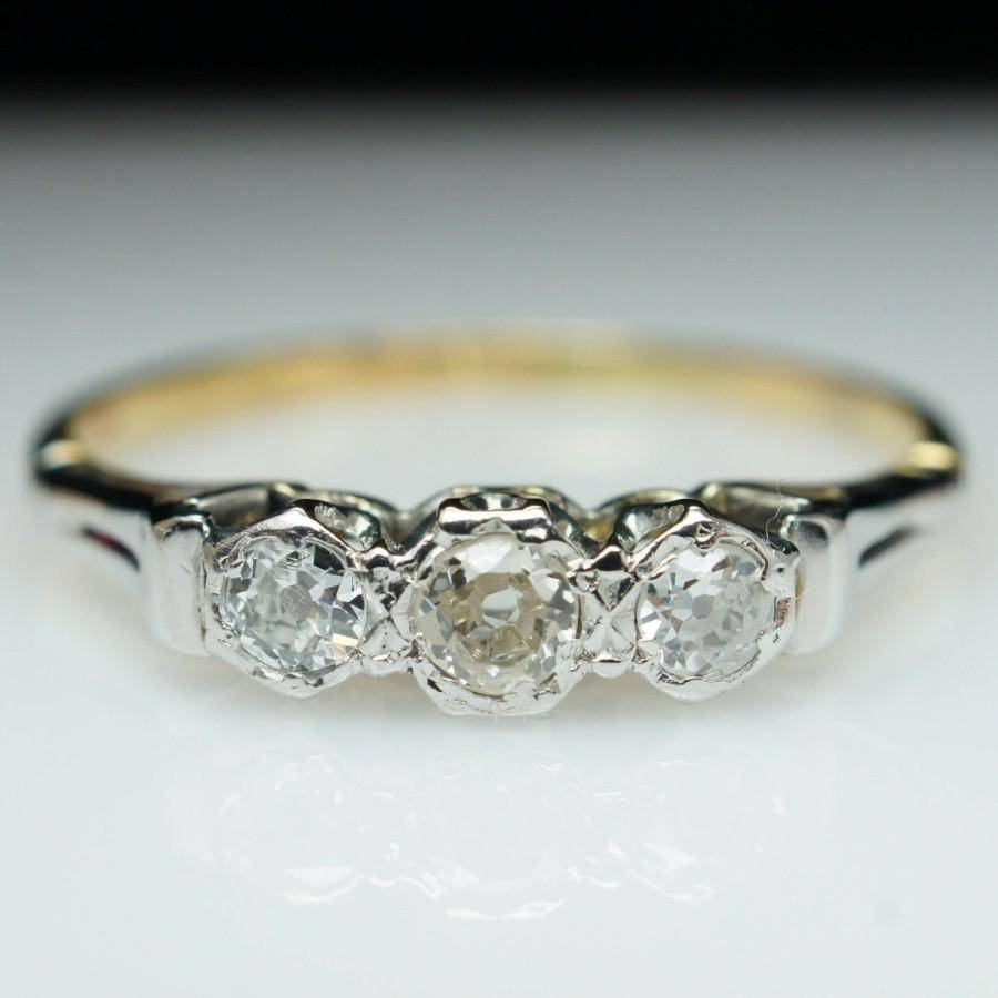Vintage Dainty Diamond Ring Unique Engagement Ring Mixed Metal 3 With Regard To Most Recently Released 3 Stone Diamond Anniversary Rings (Gallery 6 of 25)