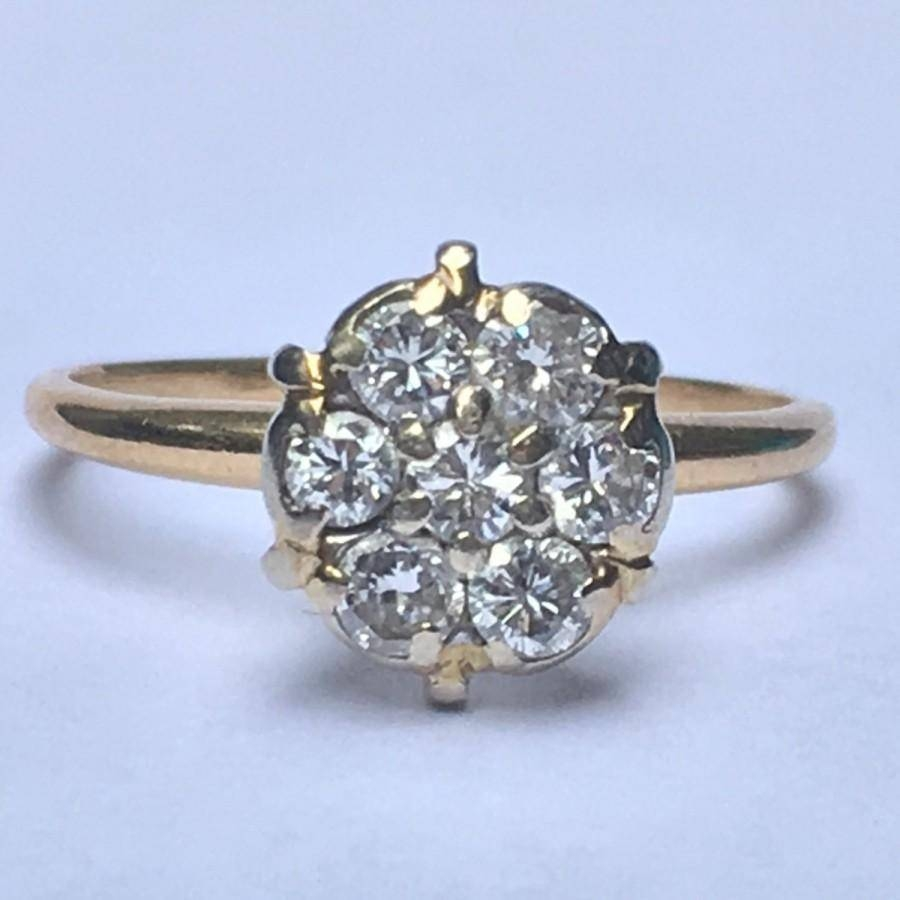 Vintage Diamond Cluster Ring. 14K Yellow Gold. Floral Design For Best And Newest Ten Year Anniversary Rings (Gallery 21 of 25)
