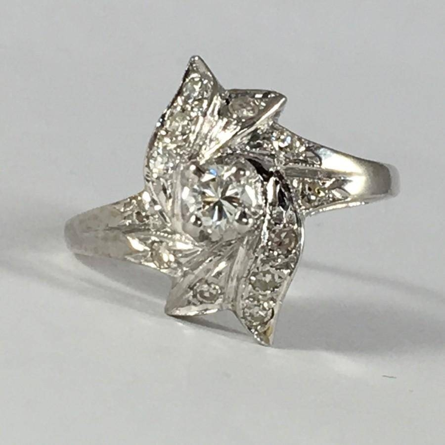 Vintage Diamond Cluster Ring In 14K Gold. 25 Diamonds With 0.50 With Most Popular 10 Year Anniversary Rings (Gallery 15 of 15)