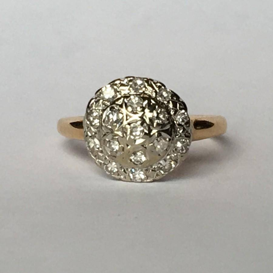 Vintage Diamond Cluster Ring In 14K Yellow Gold (View 11 of 15)