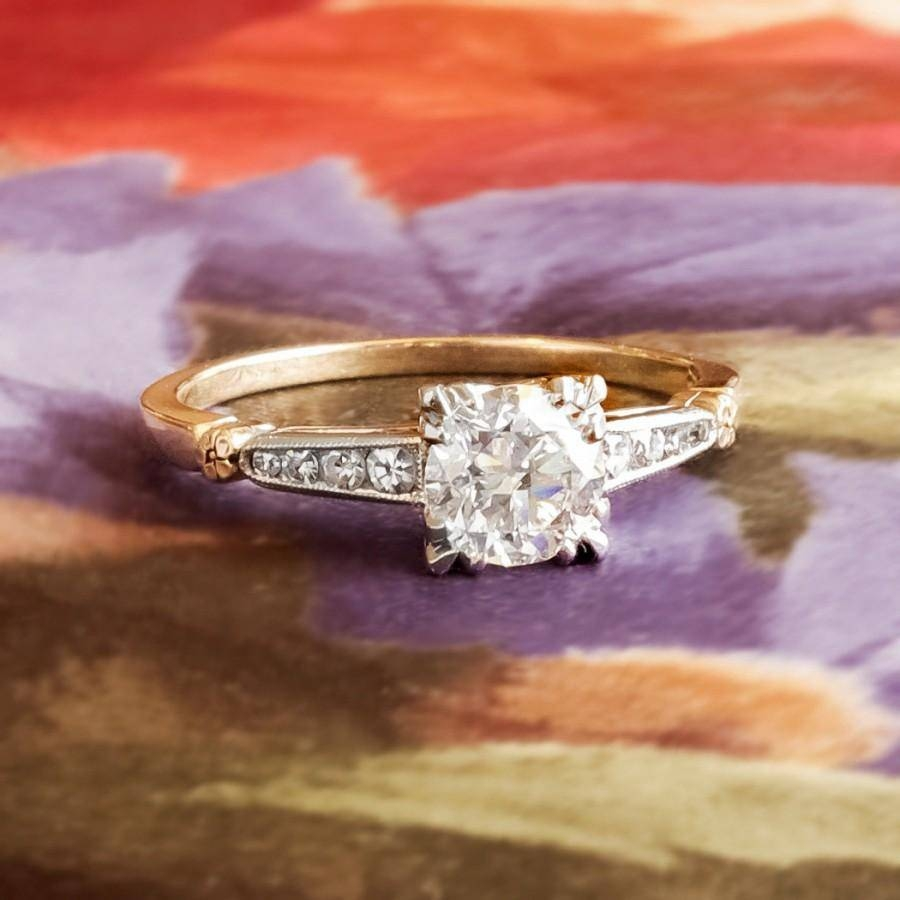 Vintage Retro 1950's Old Transitional Cut Diamond Two Tone Regarding 2018 Two Tone Anniversary Rings (View 25 of 25)