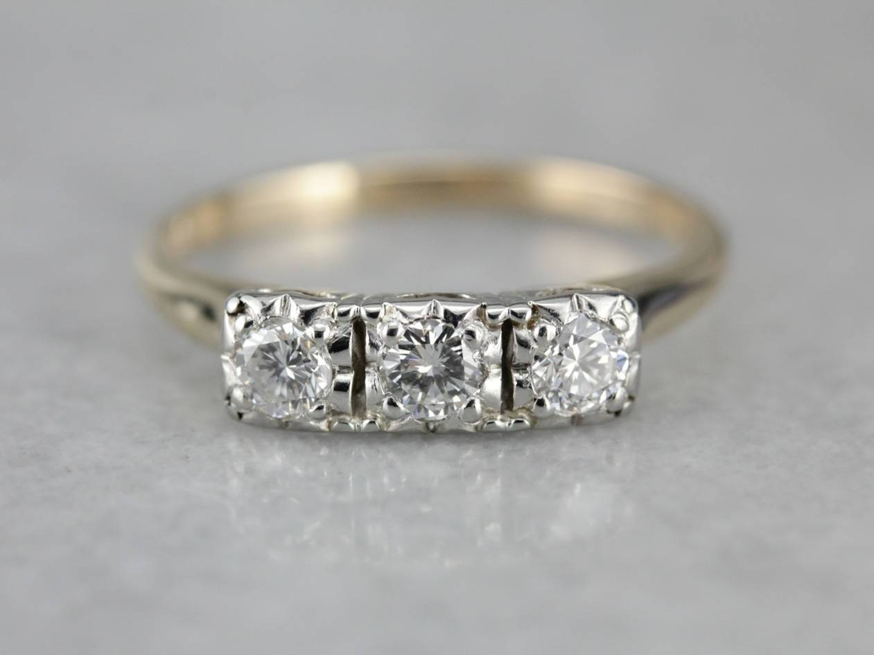 Vintage Three Stone Diamond Ring, Vintage Engagement Ring For 2018 Past Present Future Anniversary Rings (Gallery 11 of 25)