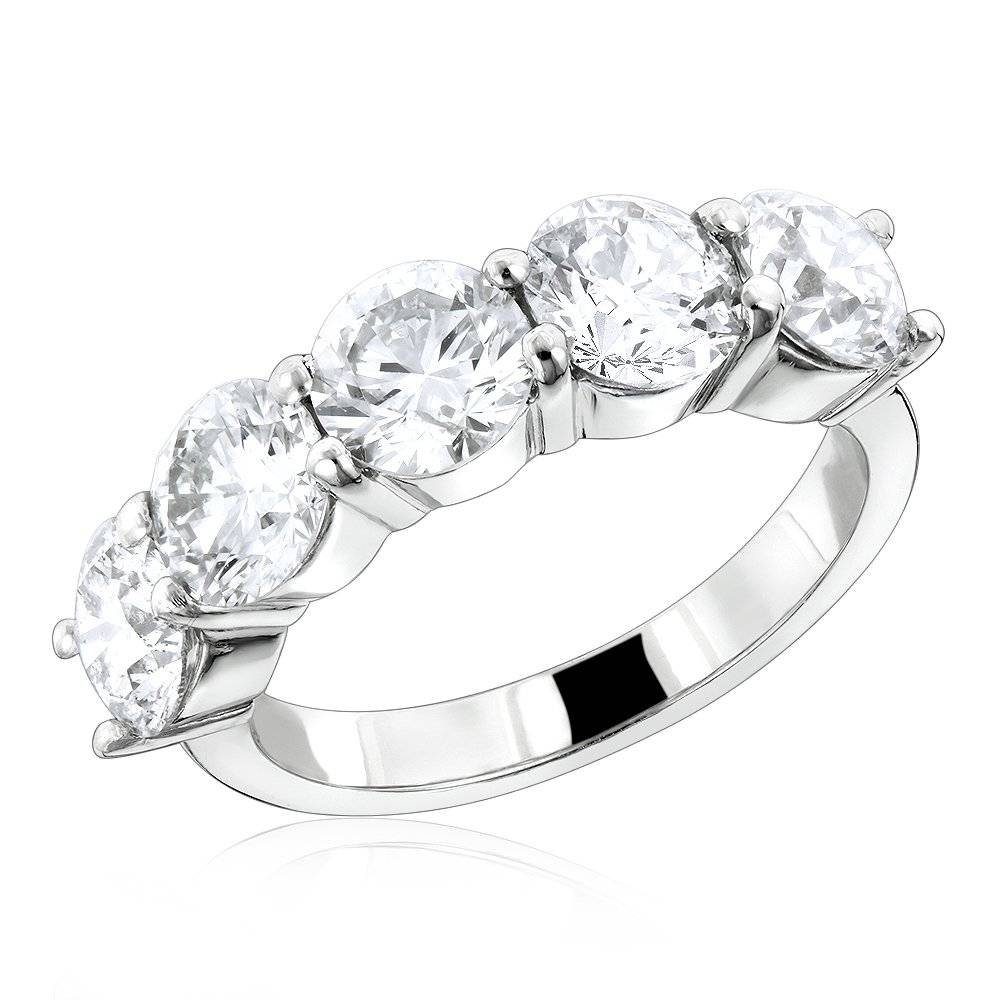 Vs Large Diamond Wedding Bands: 5 Stone Anniversary Platinum Ring Within Current Five Stone Anniversary Rings (View 17 of 25)