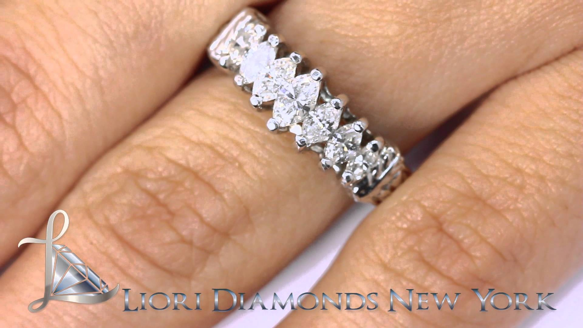 Wba 04 – 1.25 Carat Marquise Cut Diamond Wedding Band Anniversary Within 2018 Marquise Anniversary Rings (Gallery 14 of 25)