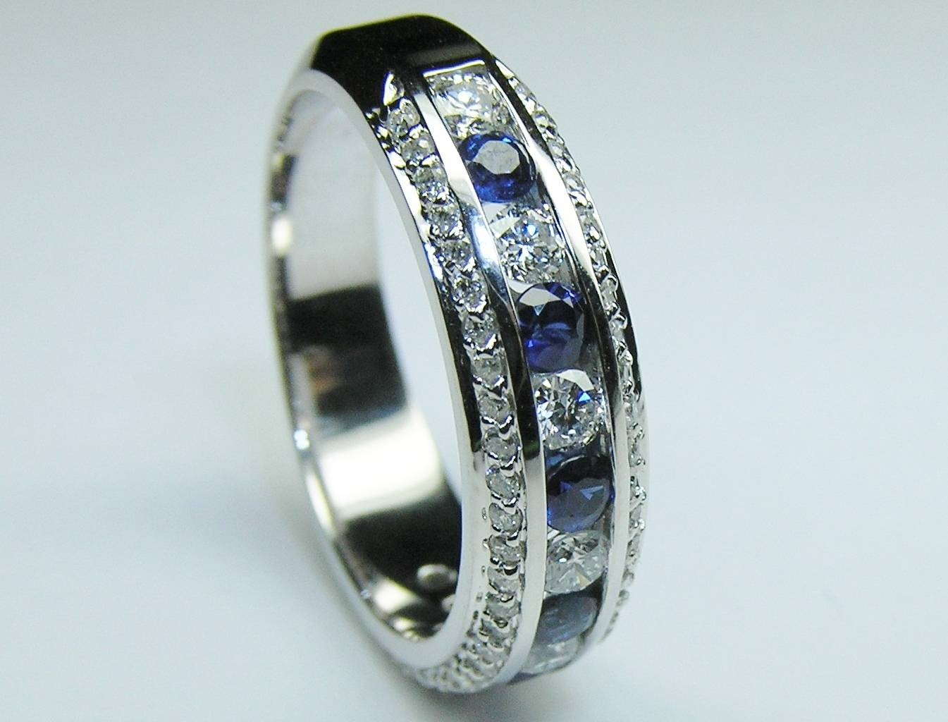 Wedding Band – Three Row Diamonds & Blue Sapphire Wedding For 2017 Sapphire Anniversary Rings (Gallery 6 of 25)
