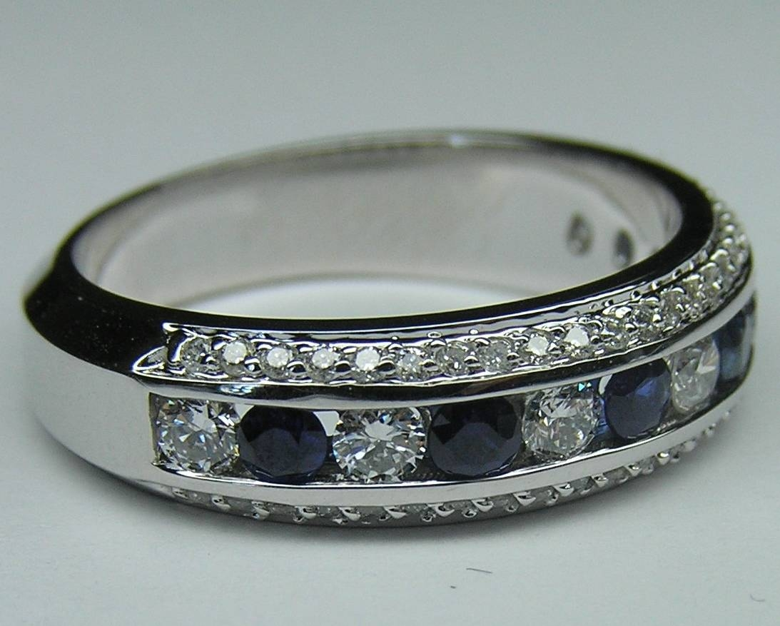 Wedding Band – Three Row Diamonds & Blue Sapphire Wedding Regarding Newest Blue Sapphire Anniversary Rings (View 7 of 25)