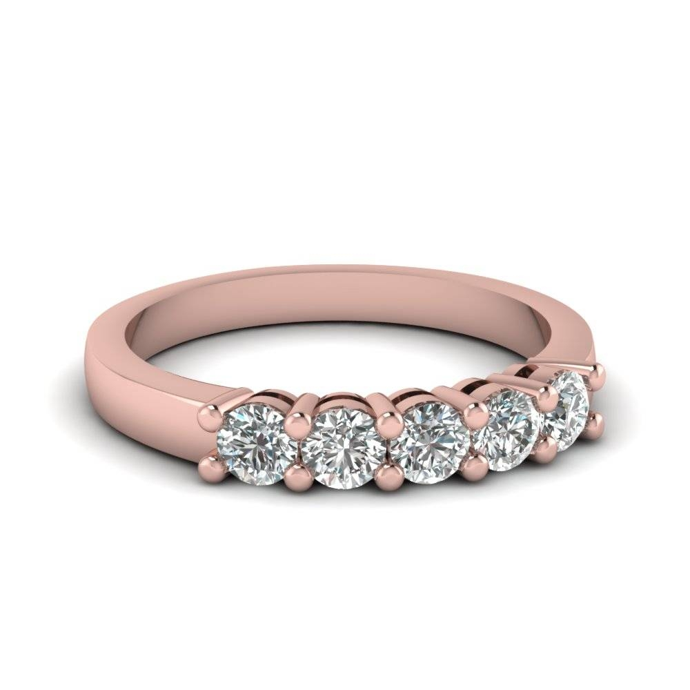 Wedding Band With White Diamond In 14k Rose Gold | Fascinating Regarding Most Recent 5 Stone Diamond Anniversary Rings (View 7 of 25)
