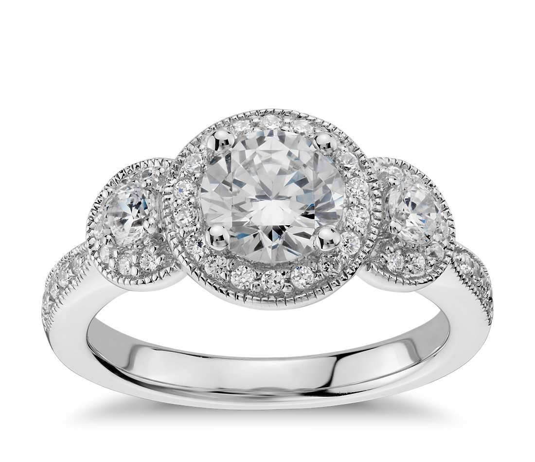 Wedding Rings : 3 Stone Platinum Ring Settings Three Stone Diamond With Newest Anniversary Rings Settings Without Stones (Gallery 24 of 25)