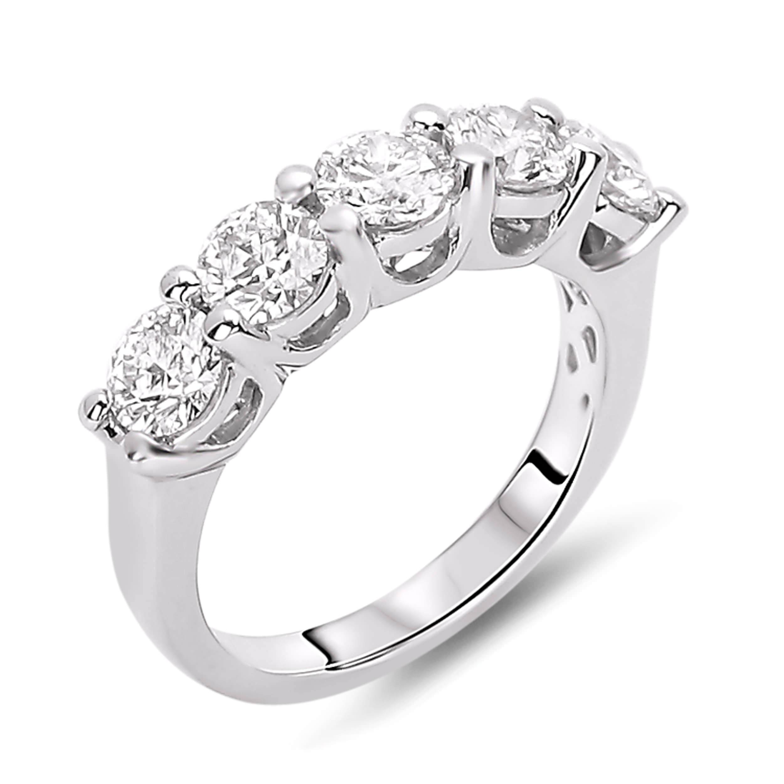 Wedding Rings : Art Deco Anniversary Band 3 Carat Solitaire With Recent 5 Stone Anniversary Rings (View 13 of 25)