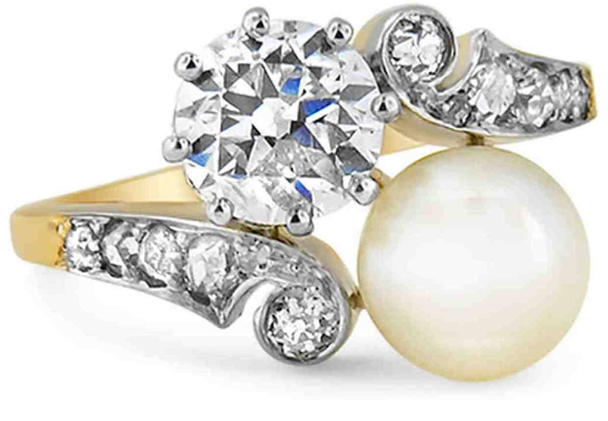 Wedding Rings : Pleasurable Pearl Engagement Ring Vs Diamond In Most Popular Modern Anniversary Rings (View 17 of 25)