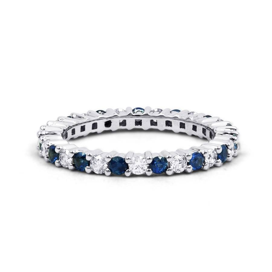 White Gold Blue Sapphire & Diamond Full Eternity Ring – Diamond Within Most Recent White Sapphire Anniversary Rings (View 21 of 25)