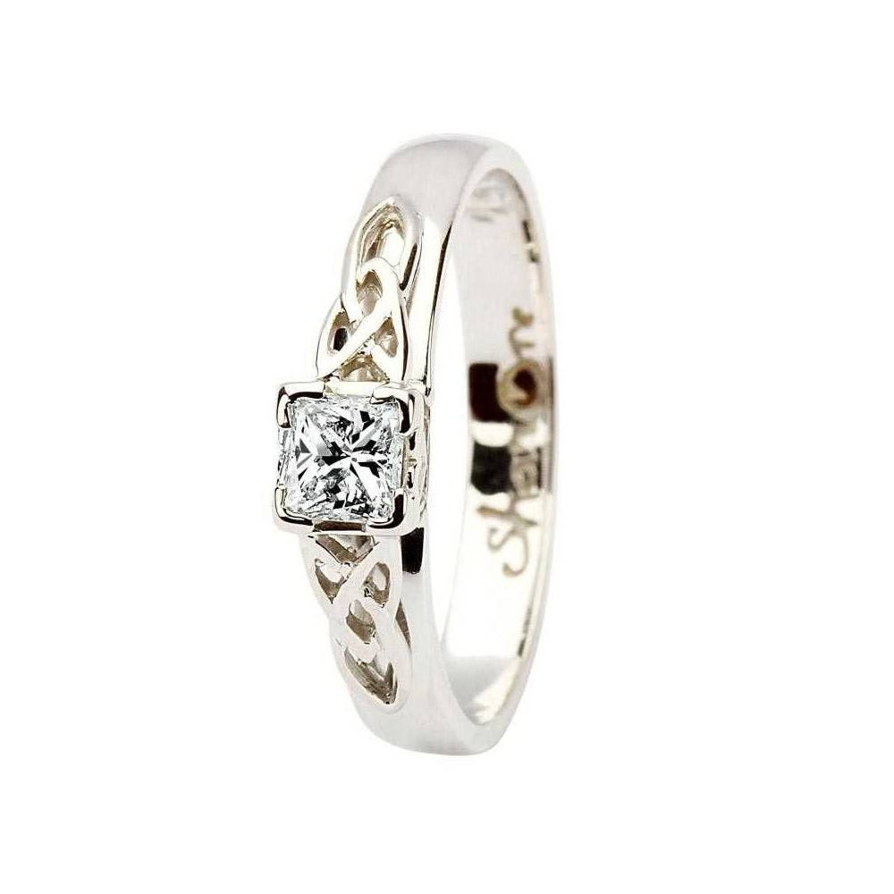 White Gold Celtic Irish Princess Cut Diamond Ring – Celtic Inside Most Up To Date Irish Anniversary Rings (View 25 of 25)