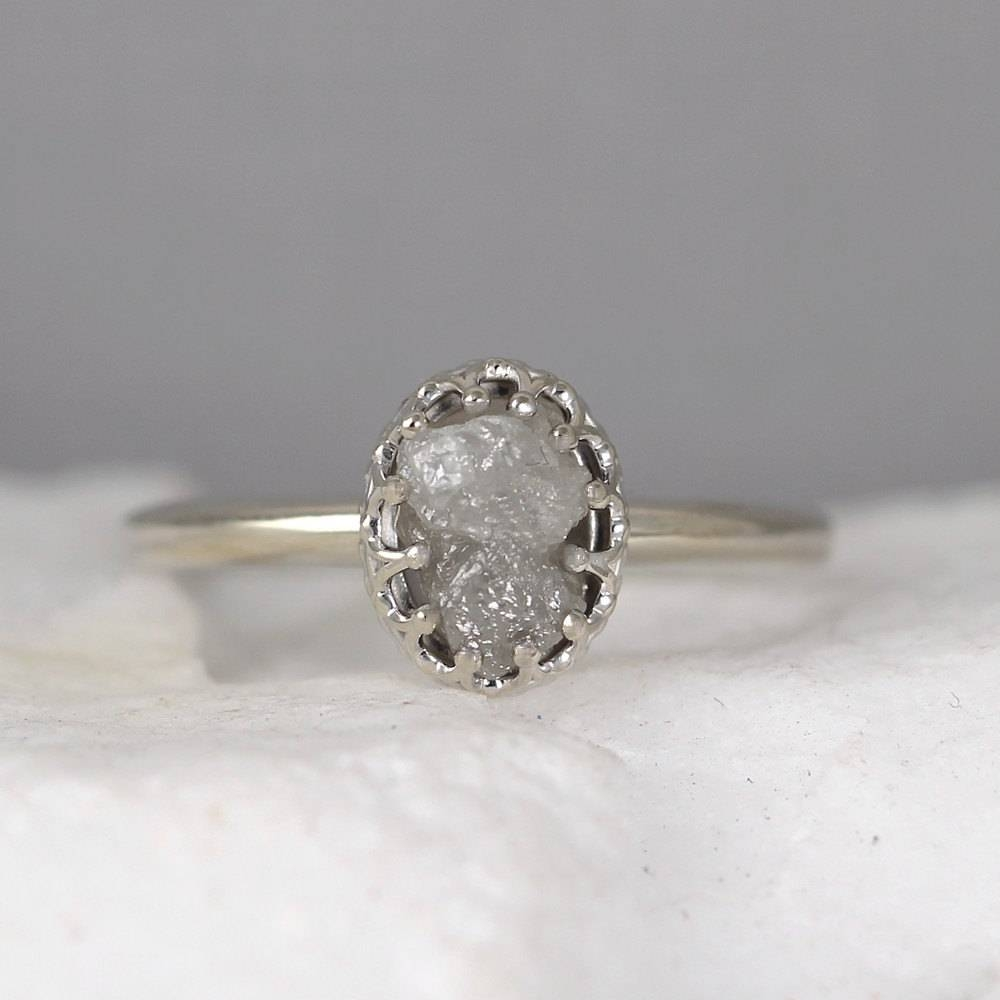 White Gold Raw Diamond Ring Vintage Style Setting 14K Gold Throughout Most Recently Released Vintage Anniversary Rings (View 24 of 25)