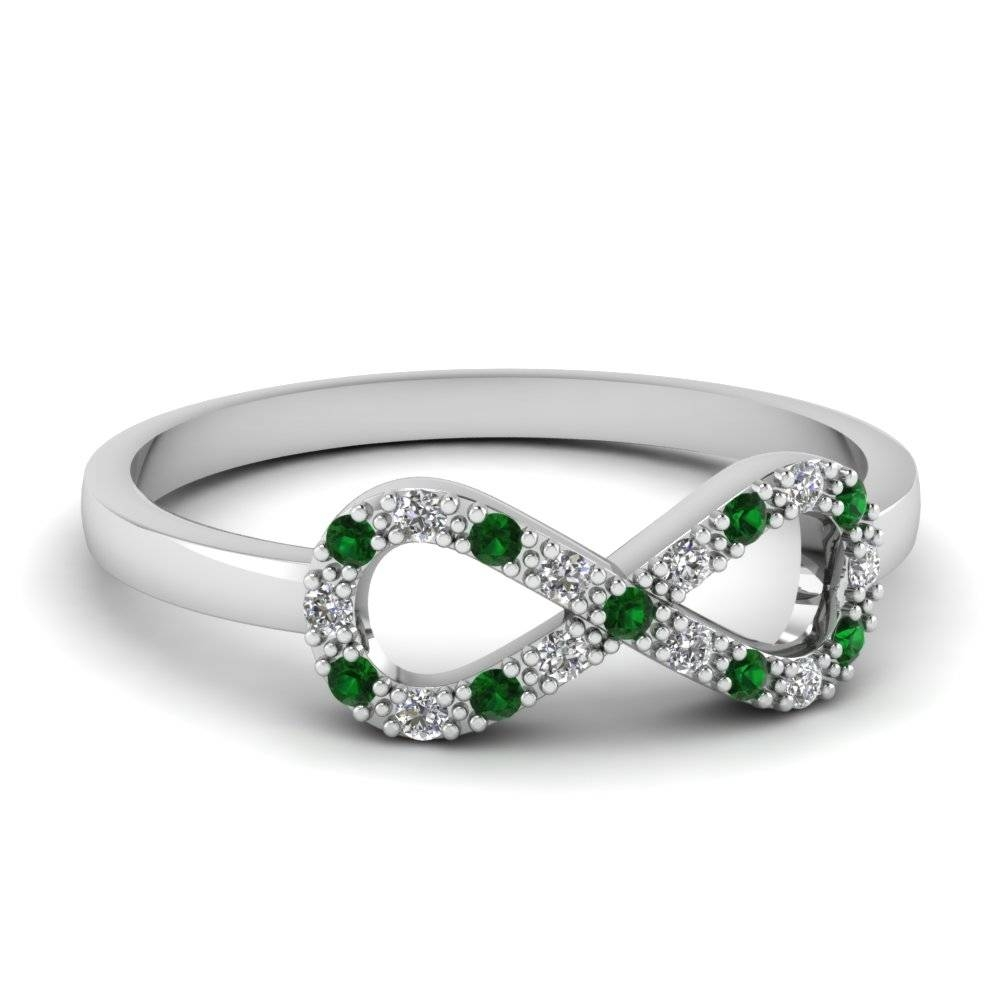 White Gold Round White Diamond Engagement Ring With Green Emerald For Most Current Emerald Anniversary Rings (View 9 of 25)