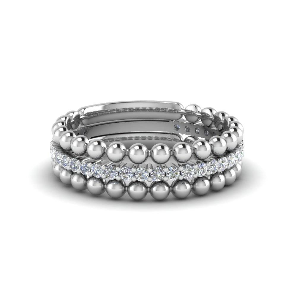 White Gold Stackable Bead Diamond Anniversary Ring Gifts In 14K Regarding 2018 White Gold Anniversary Rings (View 25 of 25)