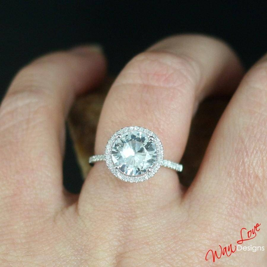 White Sapphire Diamond Halo Engagement Ring Round 3 Ct 9Mm 14K 18K With Latest Custom Made Anniversary Rings (View 14 of 25)