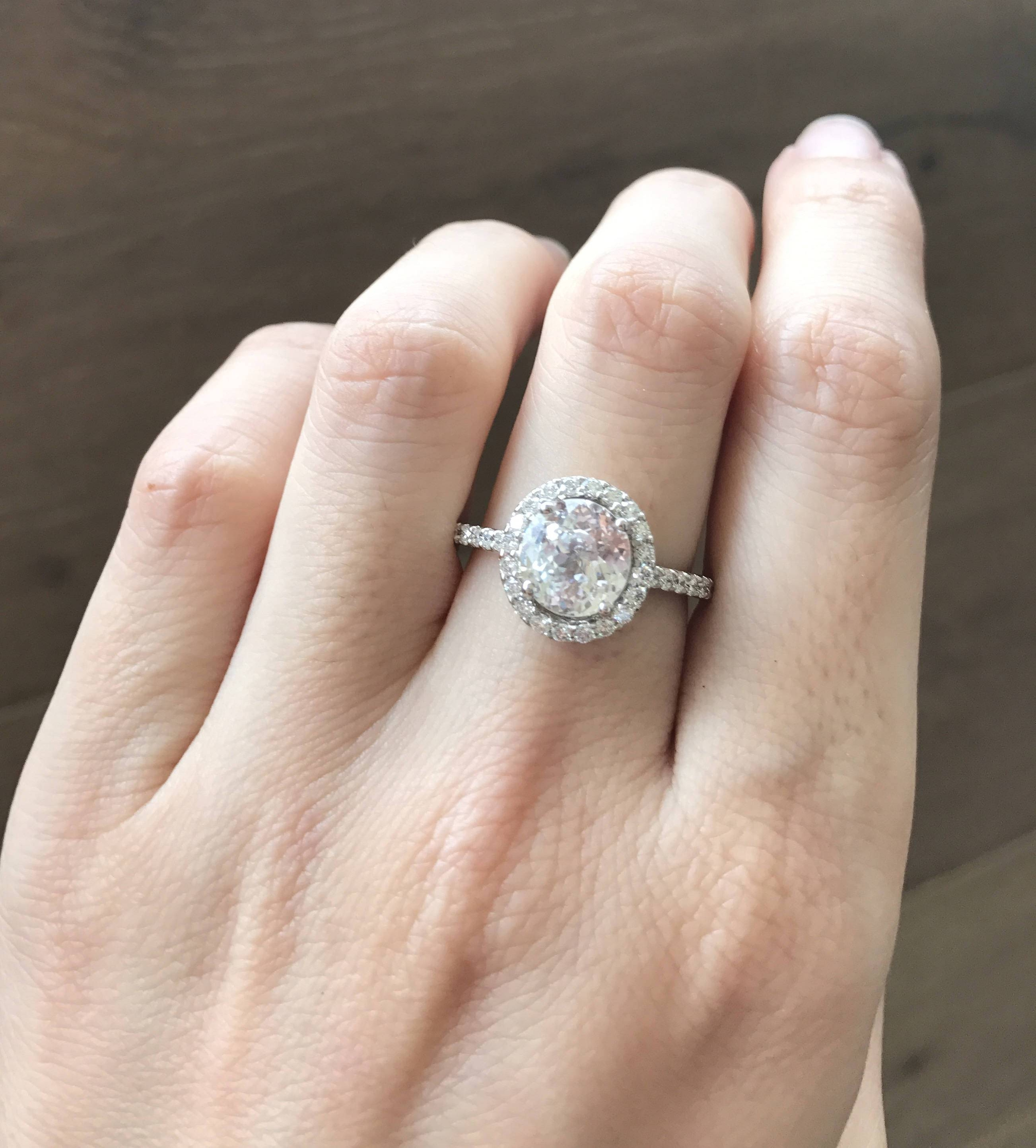 White Sapphire Engagement Ring  Halo Sapphire Promise Ring  2 For Most Popular White Sapphire Anniversary Rings (Gallery 22 of 25)
