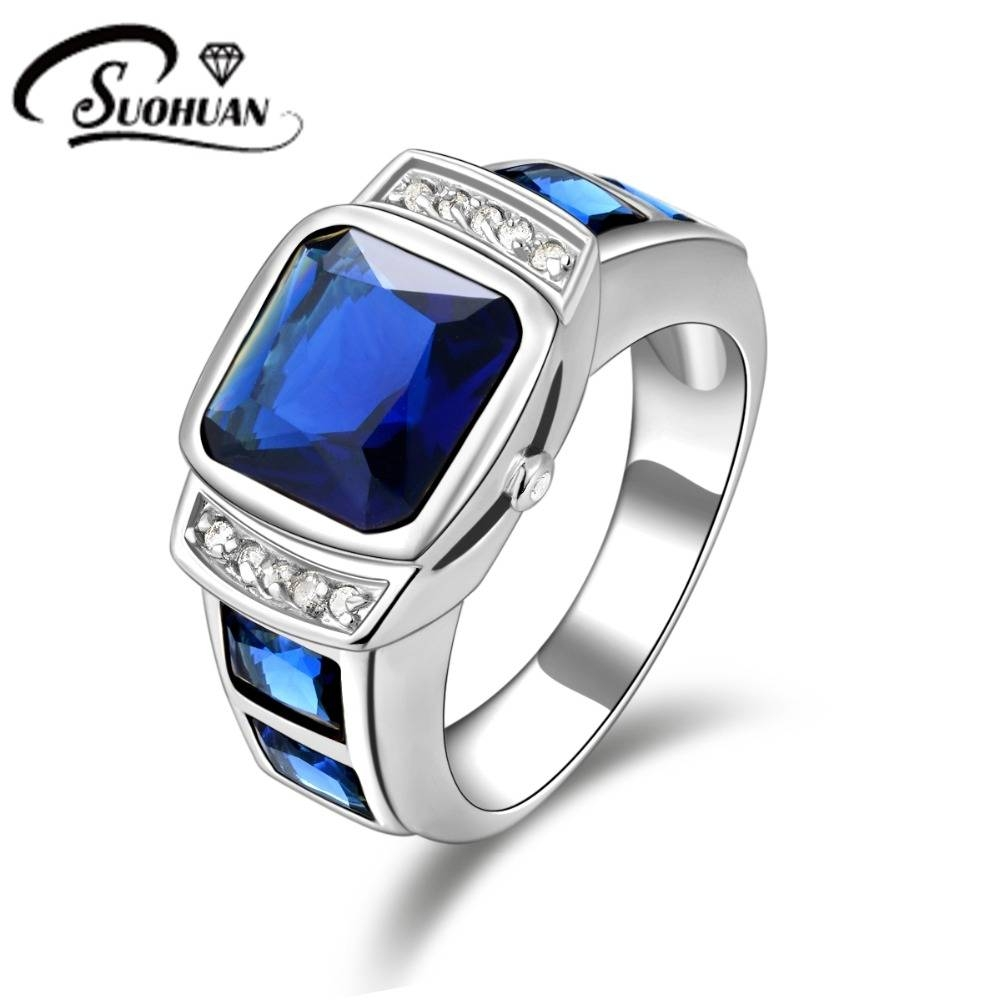 Wholesale Fashion Male Jewelry Blue Rings Cz Ip White Gold Filled Pertaining To Most Recent Mens Anniversary Rings (View 25 of 25)