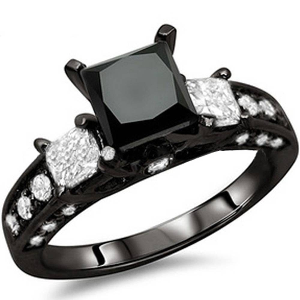 Women Size 4 12 Black Crystal Onyx Princess Cut Wedding Engagement Within Most Popular Black Diamond Anniversary Rings (View 25 of 25)