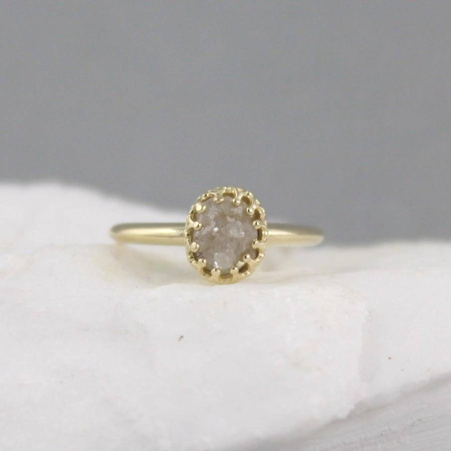 Yellow Gold Raw Diamond Ring – Vintage Style Setting – 14k Gold With Most Popular Vintage Style Anniversary Rings (View 6 of 25)