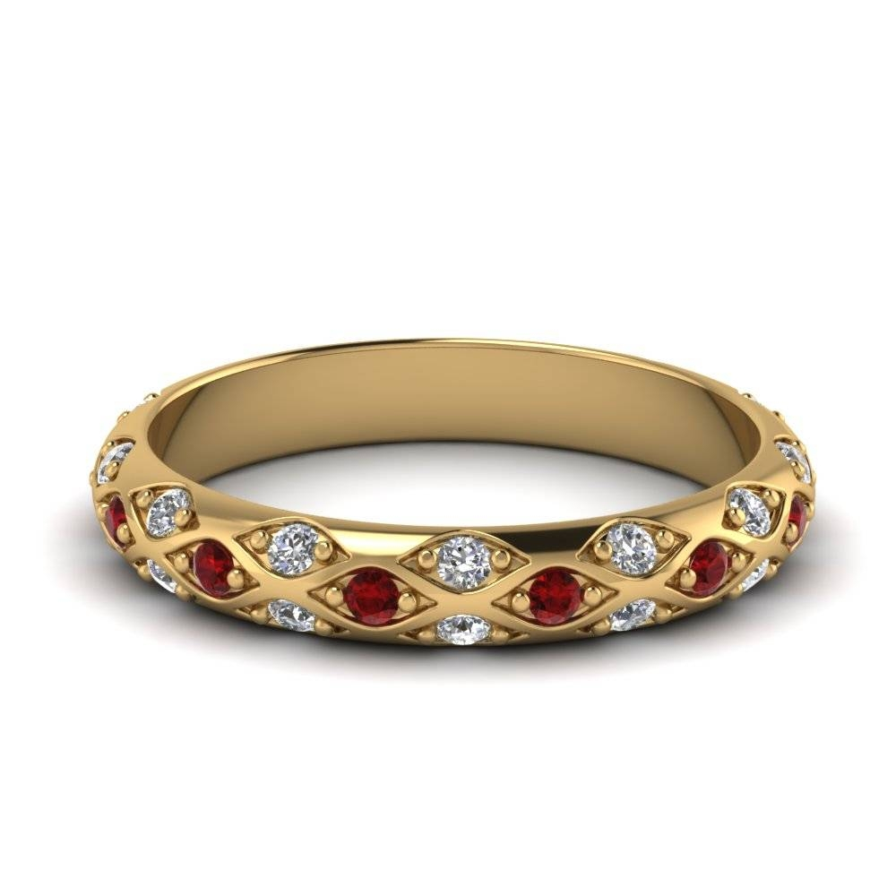 Yellow Gold Round Red Ruby Wedding Band With White Diamond In Pave Pertaining To 2018 Ruby And Diamond Anniversary Rings (Gallery 9 of 25)