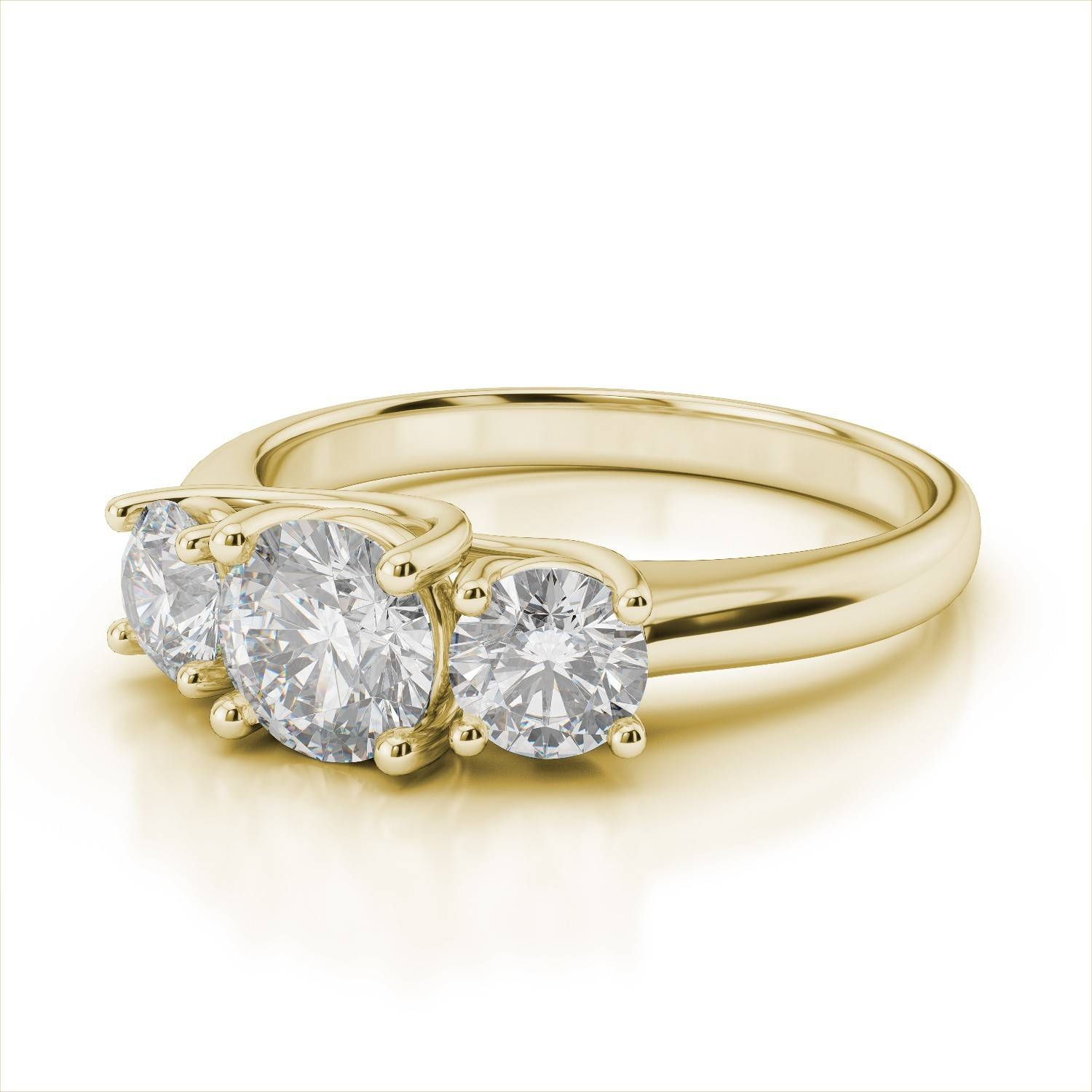 Yellow Gold Three Stone Engagement Rings | Wedding, Promise With Regard To Newest Three Diamond Anniversary Rings (Gallery 7 of 25)