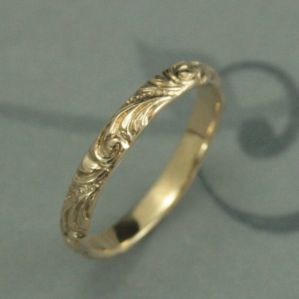 Yellow Gold Wedding Bandflorencewomen's Gold Wedding For Latest Vintage Style Anniversary Rings (View 14 of 25)