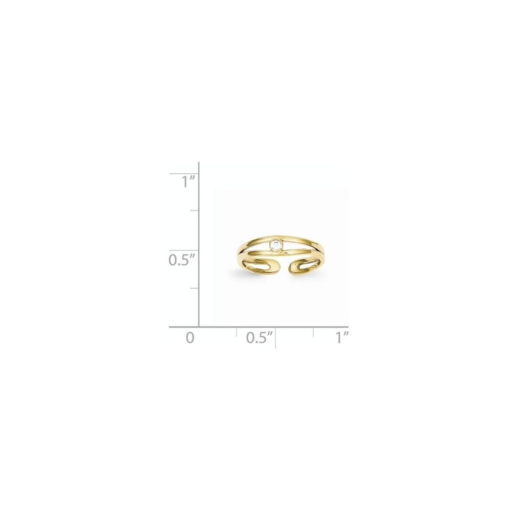 10K Yellow Gold Cubic Zirconia Round Bezel Set Adjustable Toe Ring In Most Recently Released Yellow 10K Toe Rings (View 2 of 15)