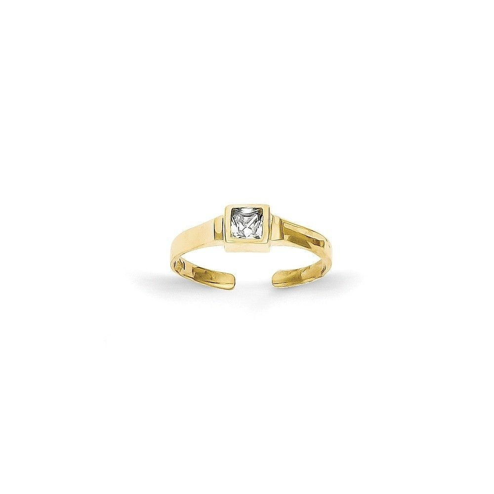 10K Yellow Gold Cz Toe Ring | Ebay Within Most Recently Released Yellow 10K Toe Rings (Gallery 2 of 15)