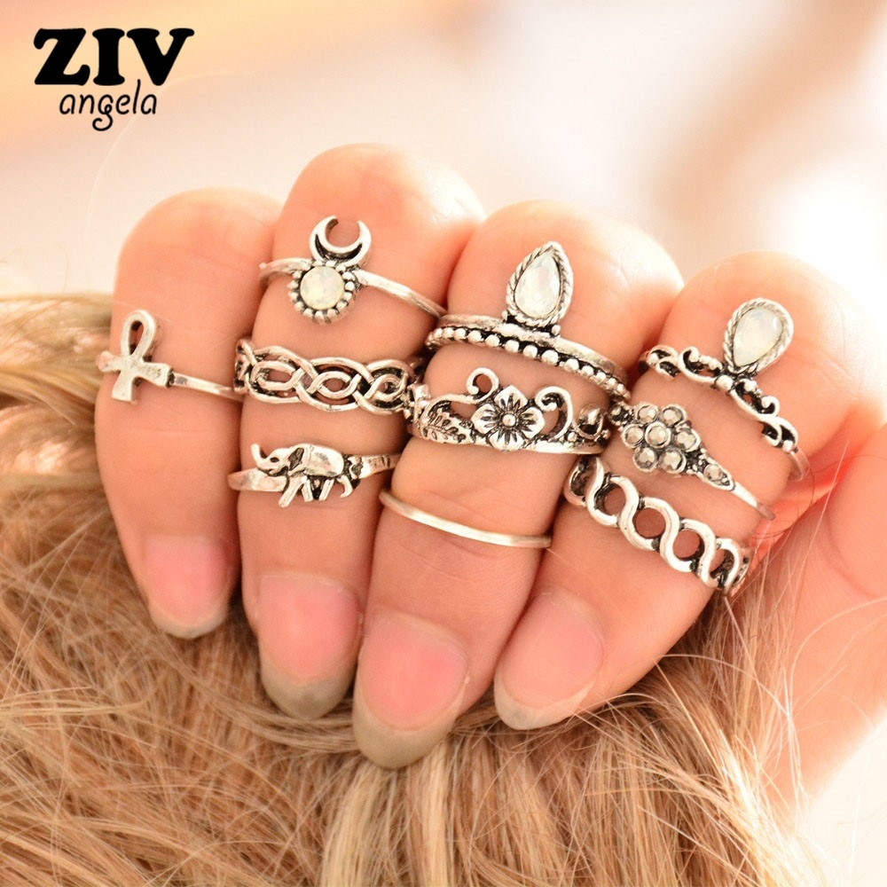 10Pcs/set Ethnic Vintage Elephant Ring Set Carved Flower Bohemian With Regard To Most Current Vintage Toe Rings (Gallery 5 of 15)