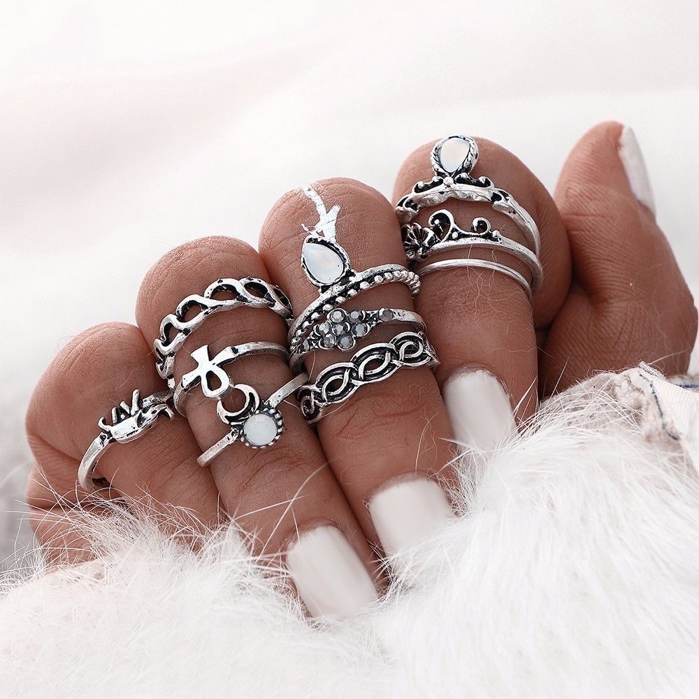 10Pcs/set Gold Silver Color Boho Beach Vintage Flower Elephant For 2017 Chevron Knuckle Rings Sets (Gallery 12 of 15)