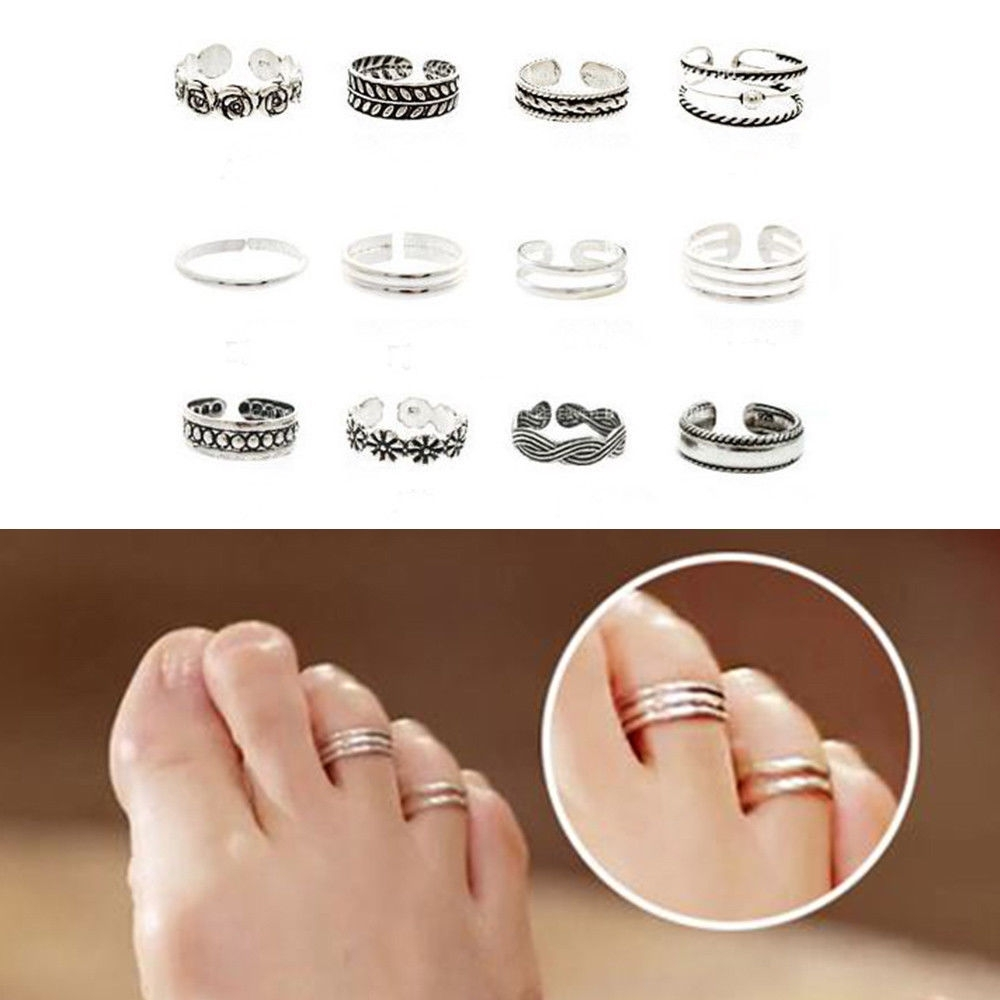 11Pcs Adjustable Silver Toe Rings Ring Carving Foot Jewellery For Best And Newest Full Circle Toe Rings (View 2 of 15)