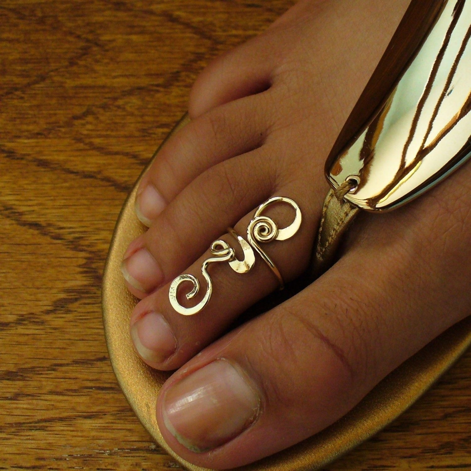 12K Gold Filled Gold Toe Ring Long Toes Ring Gold Midi Ring Gold Regarding Recent Toe Rings In Gold (View 1 of 15)