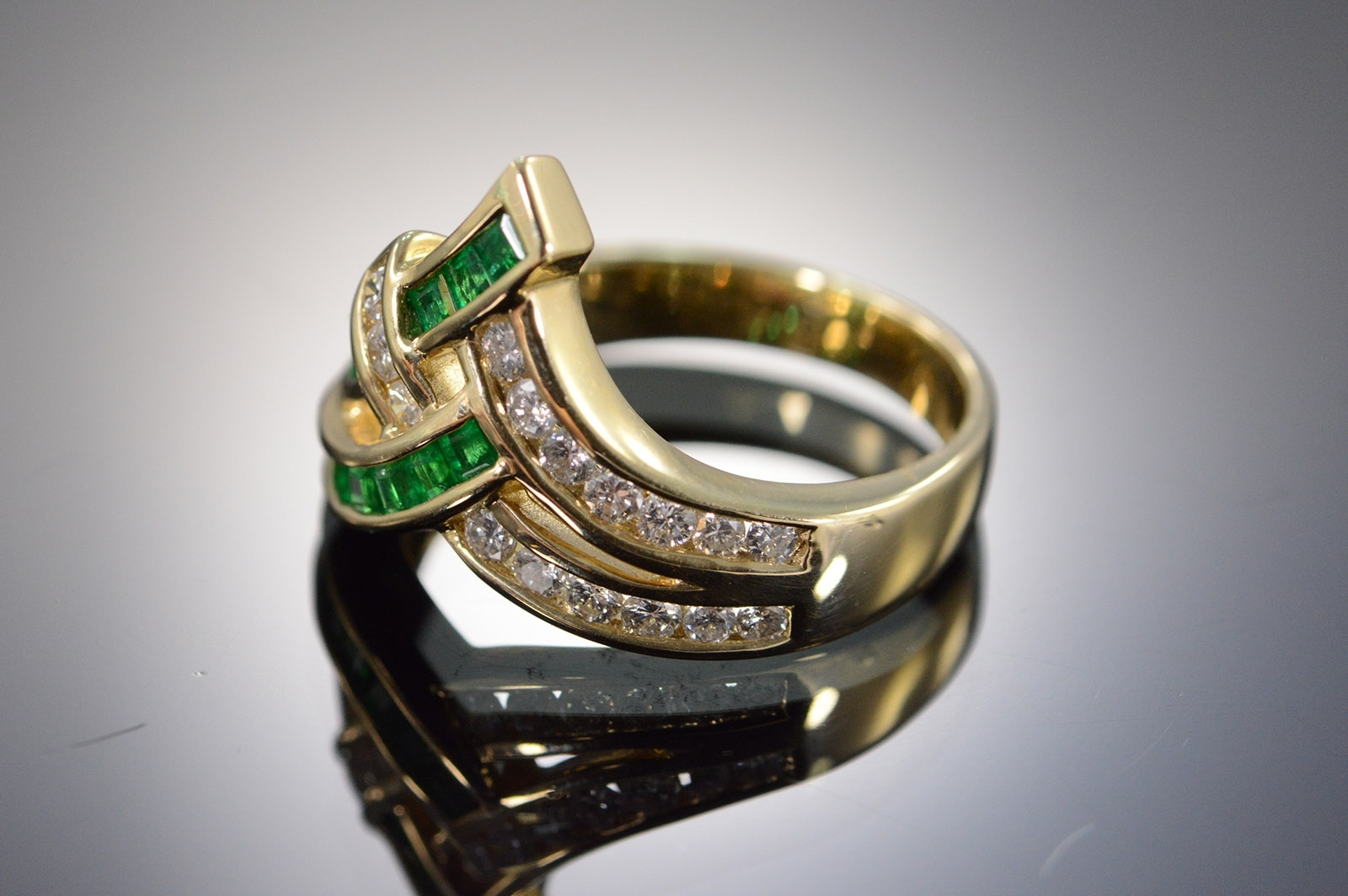 14K 5G 0.75 Ctw Diamond Emerald Chevron Yellow Gold Ring, Size 7 Pertaining To Most Current Chevron Emerald Rings (Gallery 9 of 15)