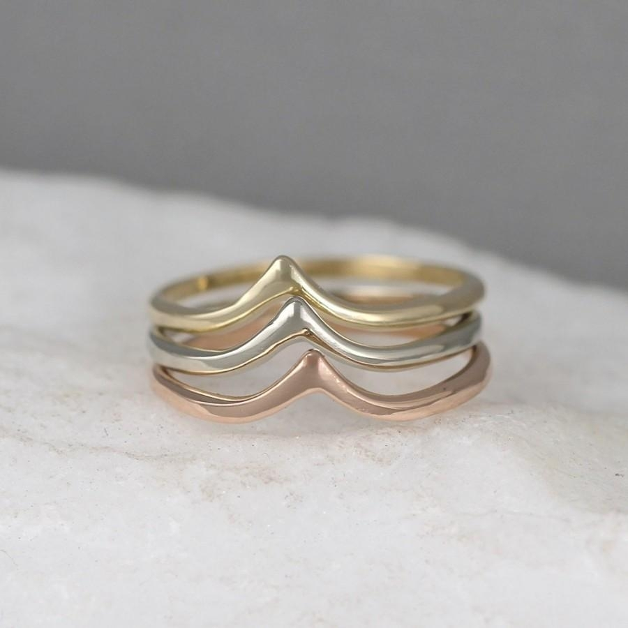 14K Gold Chevron V Ring – Yellow White Or Rose Gold – Wedding Band Pertaining To Most Up To Date Stackable Chevron Rings (View 3 of 15)