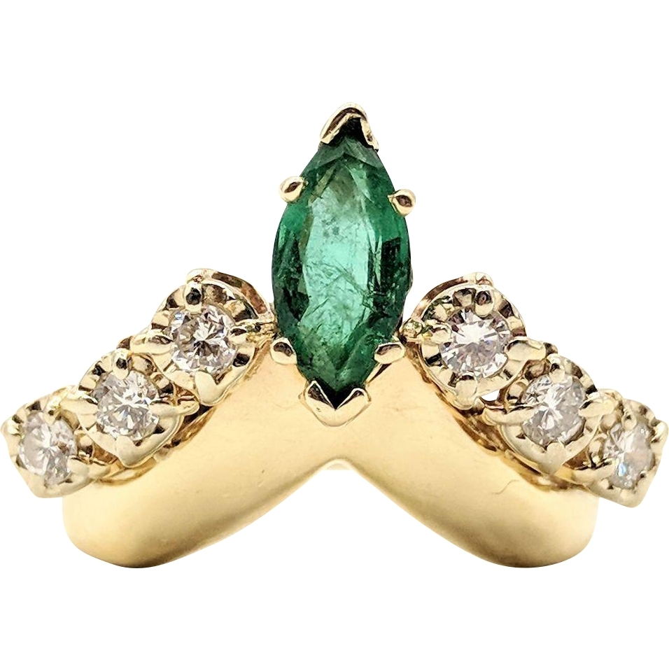 14k Gold Emerald & Diamond Chevron Ring From Jewelworks On Ruby Lane With Regard To Most Popular Chevron Emerald Rings (View 7 of 15)
