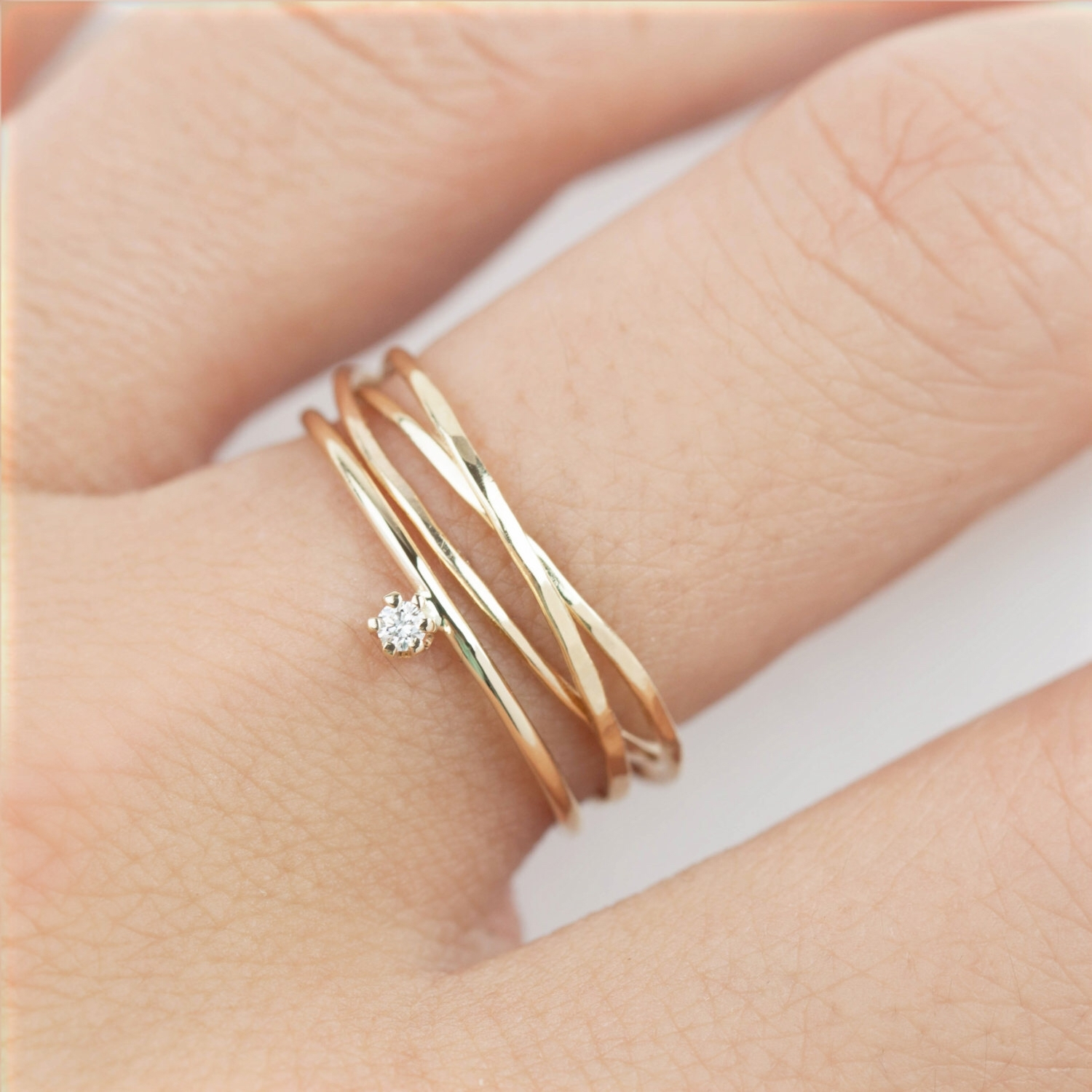 14k Gold Trinity Ring, Dainty Rings, Three Rings, Textured Ring Within 2018 Three Stackable Chevron Diamond Rings (Gallery 3 of 15)